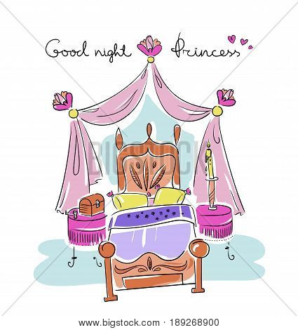 Bedroom for a girl. Princess style: bed canopy nightstand flower. Line art illustration vector eps 10