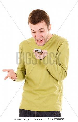 Angry man screaming on cell phone (isolated on white)