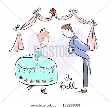 Man and woman at the ball dressed up doing reverences. Vector illustration eps 10