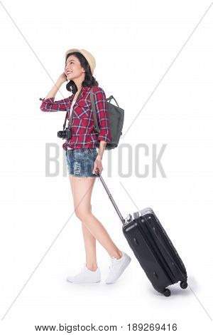 Travel Concept. Full Length Portrait Of Asian Pretty Young Woman In Hat With Backpack And Valise