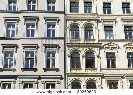 Tow Old Houses With Stucco In Berlin Kreuzberg