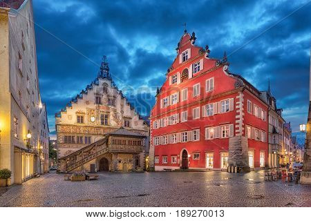 Building of Old Town Hall (Altes Rathaus) in the evening Lindau Bavaria Germany