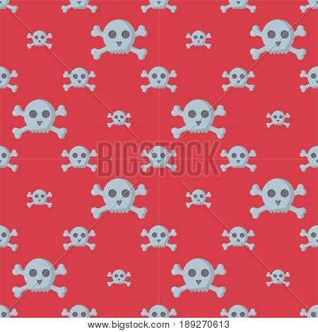Grunge seamless pattern with skulls vector illustration. Halloween human bone horror art dead skeleton. Vintage drawing graphic ornament tattoo retro evil style decoration.