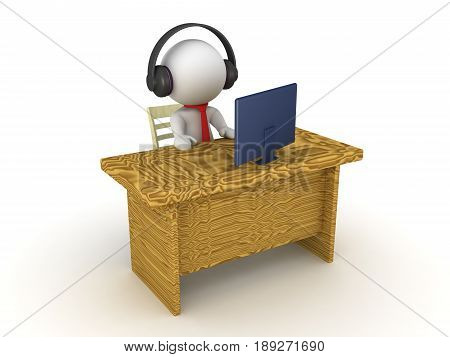 3D Character sitting at an office desk wearing headphones looking at monitor. Image depicting average day for a white collar worker.