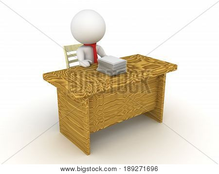 3D Character sitting at an office desk doing paper work. Image dipicting bureaucrat doing work.
