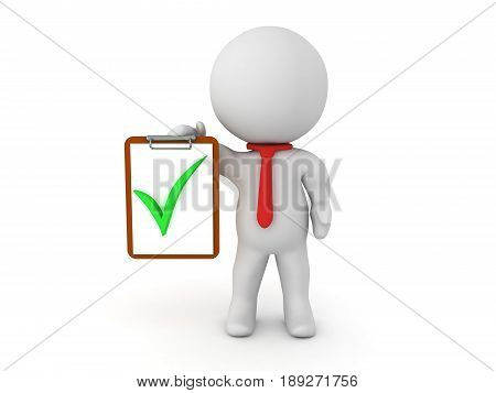 3D Character holding a clipboard with a green check mark. Typical office worker appearance.