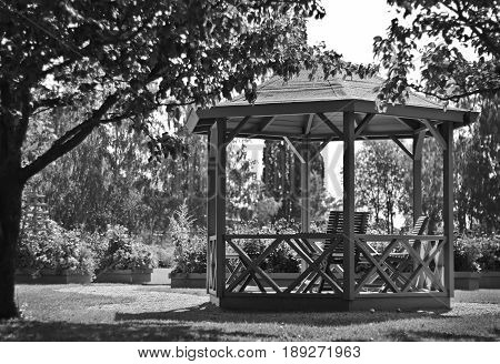 Gazebo in a park, picture in black and white