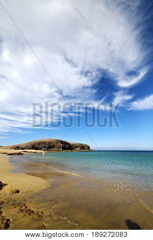 Water In Lanzarote Coastline    Spain Pond  Cloud     Musk  And Summer