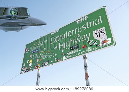 Extraterrestrial Highway road sign in Nevada, USA, and a flying saucer!