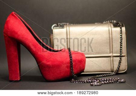 Heels Stilettos Red With Bag