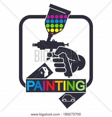 Sprayer for painting cars and houses symbol