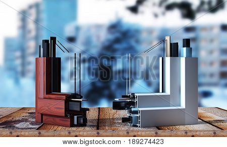Plastic Window profile isolated 3d render Interior, Cross, Home, Fingers, Part