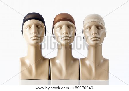 Three Mannequin Heads for Wigmaking on White