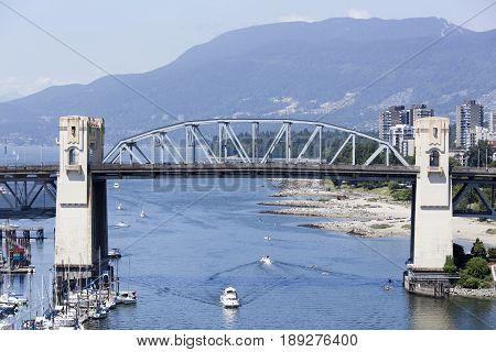 The historic Burrard Bridge over False Creek in Vancouver city (British Columbia).