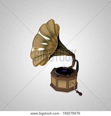 Gramophone.Isolated on white background. 3D rendering illustration.
