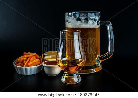 Set Of Snacks With Dip And Pint Of Beer, Crunchy Snacks, Good Food