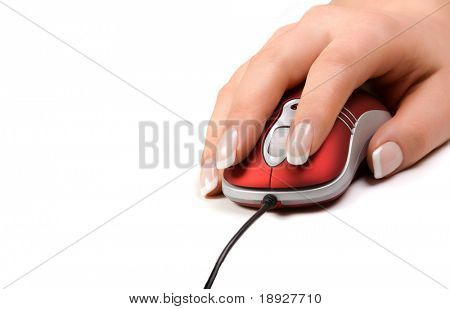 Womans hand on a red mouse