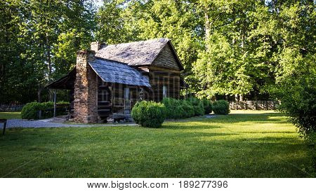 Historic Log Pioneer Farmhouse. Historic 18th century log farmhouse in the Great Smoky Mountains Park. Historical structure in a national park and a private residence.