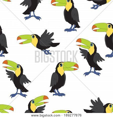 Vector seamless pattern with cartoon personages toucans.