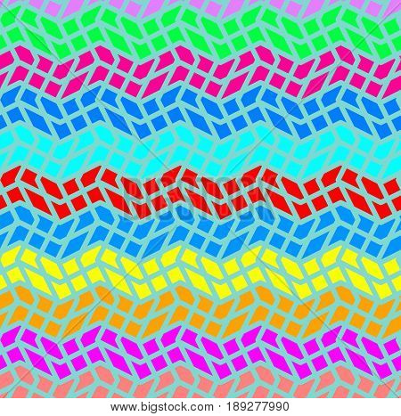 Abstract texture with geometric pattern. Zig zag texture with three different colors. Geometric pattern with small blocks. Wave concept. Idea wallpaper.