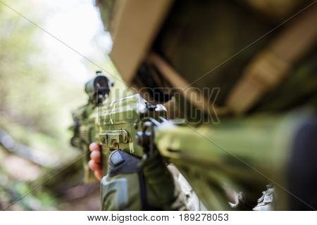 Portrait of special forces soldier on battlefield