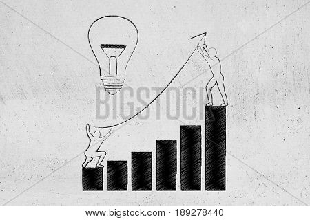 Men Setting Up An Arrow Up A Business Growth Graph Next To Lightbulb