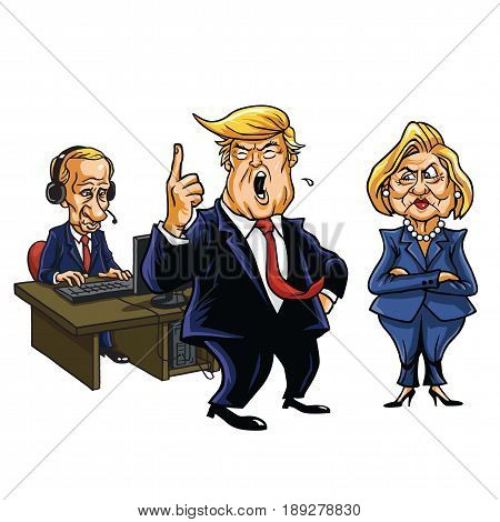 Donald Trump, Vladimir Putin, and Hillary Clinton Cartoon. June 2, 2017