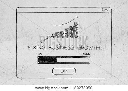 Fixing Business Growth Pop-up Message With Graph Bars And Progress Bar