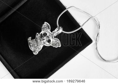 Silver koala bear figure with diamonds in jewel box closeup