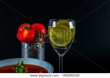 Tomato Vegetarian Soup With Metal Tin, Fresh Tomatoes, Water With Lemon And Ice Cubes, Healthy Food