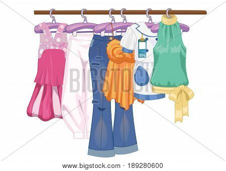 Clothes on hangers. Women s and teenager s clothes in flat style vector illustration