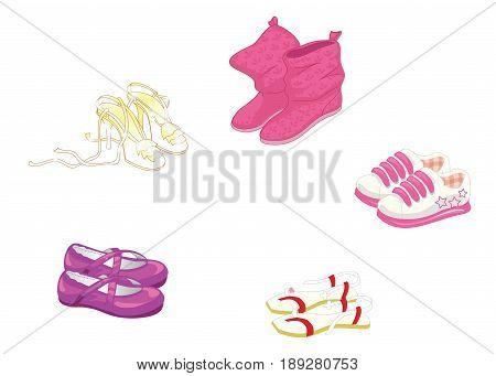 Set of trendy women s shoes. Vector illustration