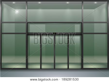 The facade of a modern shopping center or station an airport with automatic sliding doors. Vector graphics