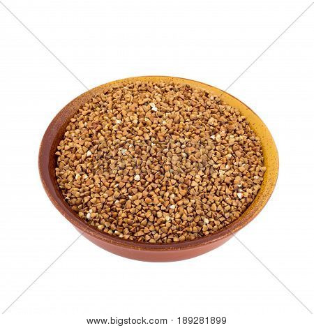 White Buckwheat On Brown, Ceramic, Deep, Plate Isolated On White Background