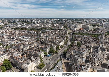 Aerial view of Nantes downtown from the terrace of the Bretagne tower