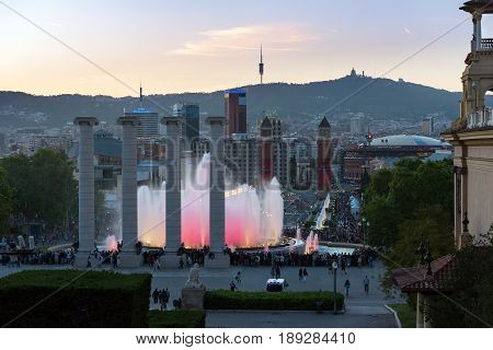 BARCELONA, SPAIN - MAY 2017: Magic fountain show at Montjuic mount in Barcelona town, Catalonia, Spain