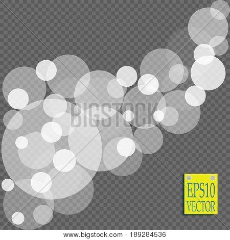 Abstract white bokeh light effect explosion sparks modern design. Glow star burst blur defocused. Sparkles light vector transparent background. Christmas Concept. Flicker magic effect
