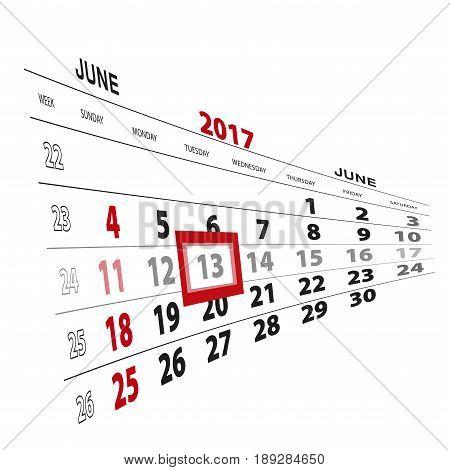 June 13, Highlighted On 2017 Calendar.