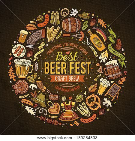 Colorful vector hand drawn set of Beer fest cartoon doodle objects, symbols and items. Round frame composition