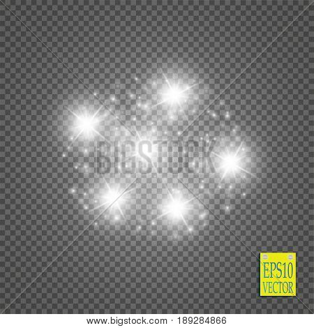 White glittering star dust trail sparkling particles on transparent background. Space comet tail. Vector glamour fashion illustration.