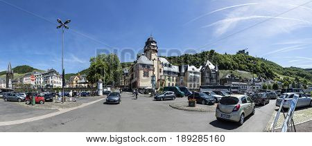People Park At The Parket Place With View To Old Historic Town Of Bernkastel-kues