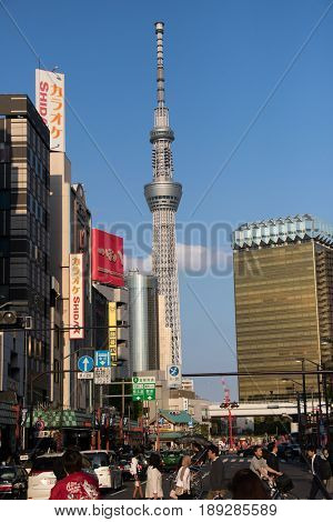 Tokyo Japan April 242017 Tokyo skytree the highest tower in Japan with blue sky background