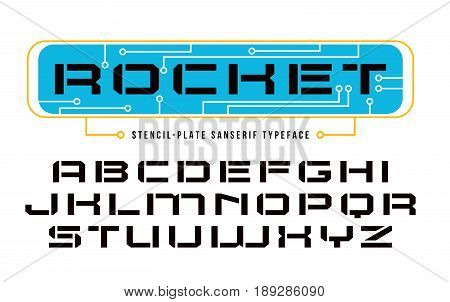 Stencil-plate sanserif font in computer style. Design for titles and logos