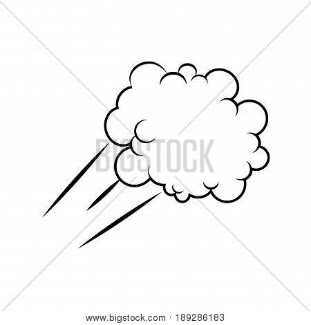 Black Pencil with Reflection Drawing Fluffy Cloud Shaped Think Bubble on Grey Background