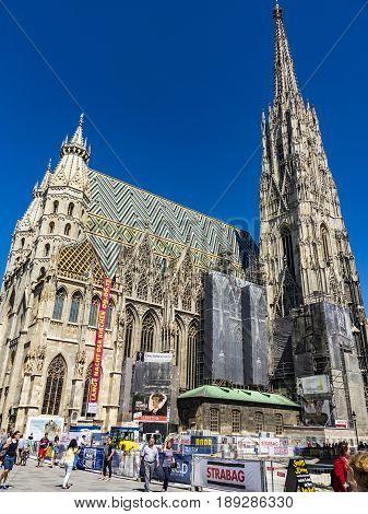 Vienna Austria - MAY 28 2017: people visit St. Stephen's Cathedral at Stephansplatz in Vienna