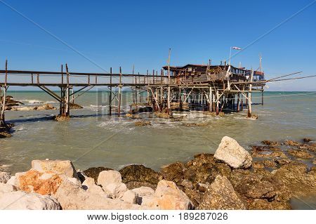 Rocca San Giovanni - Italy: April 17 2017: Traditional fisherman's house in Abruzzo called Trabocco with nobody.