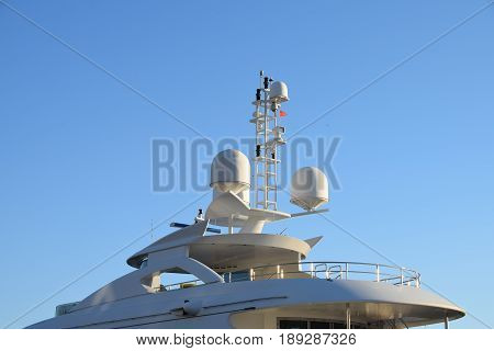 Navigation, communication and meteorological electronic equipment of modern yacht