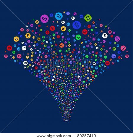 Bank Seal salute stream. Vector illustration style is flat bright multicolored iconic symbols on a blue background. Object fireworks fountain made from random pictograms.