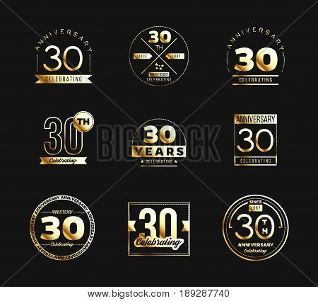 30th anniversary logo set with golden elements. Vector illustration.