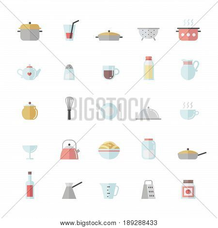 Crockery and cooking flat big icon vector set.